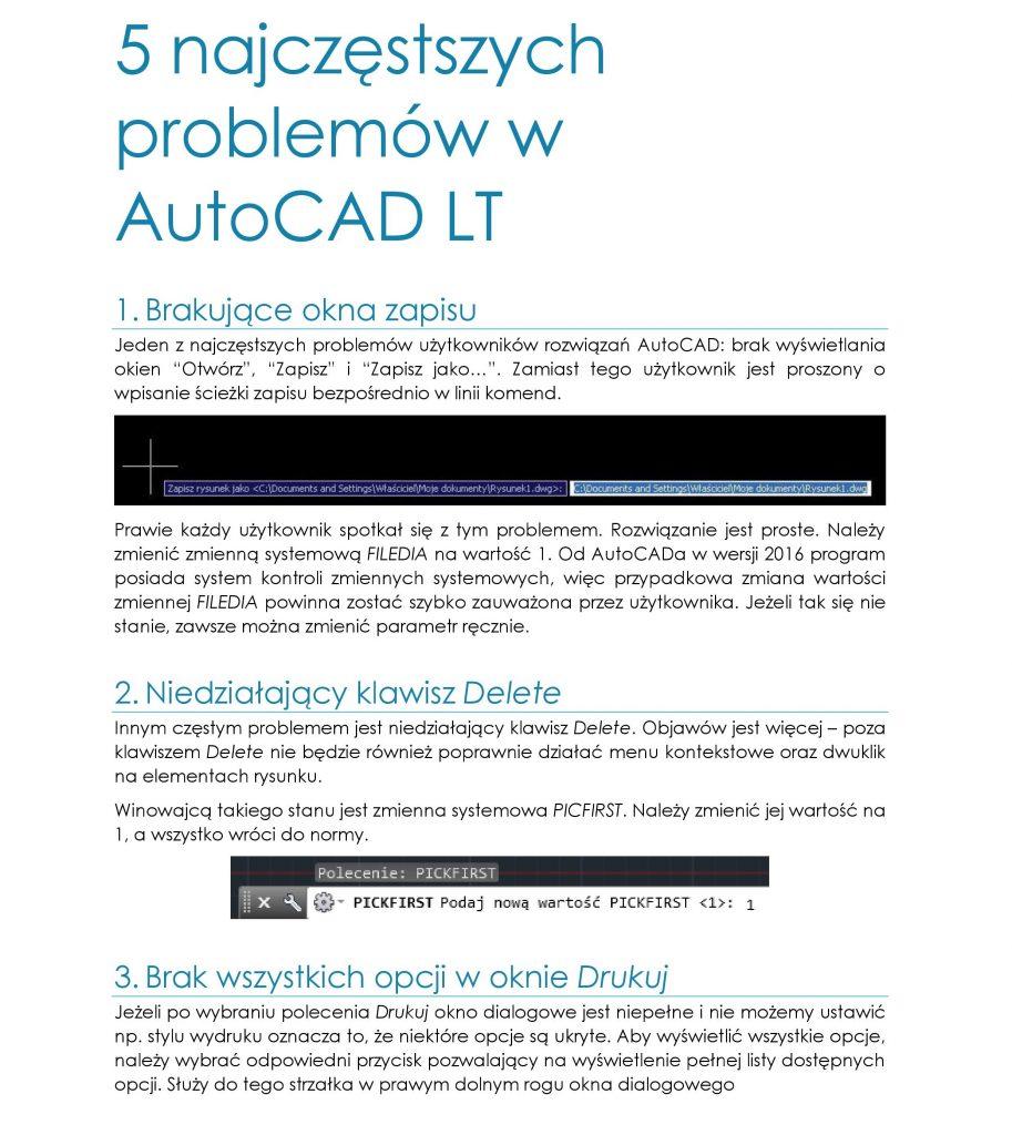 5 najczęstszych problemów w AutoCAD LT