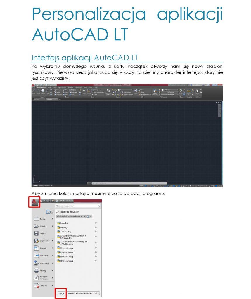 Personalizacja aplikacji AutoCAD LT